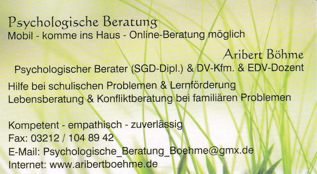 Psychologische Beratung & Nachhilfe & EDV-Schulungen Aribert Böhme